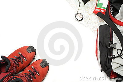 Hiking shoes and equipment background