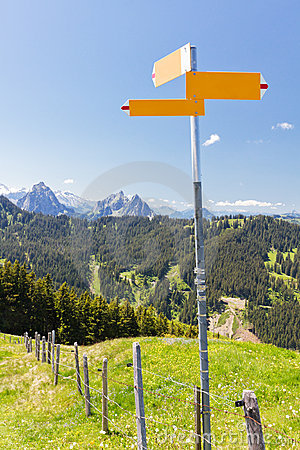 Hiking signpost mountain concept