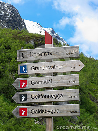 Hiking signpost in Norway Editorial Photography