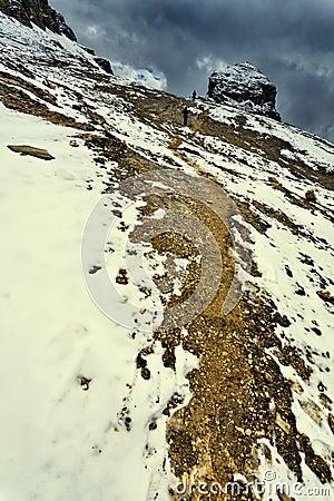 Hiking on snow way