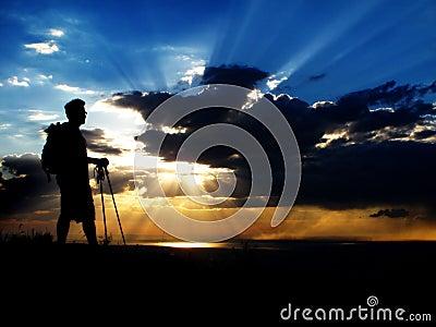 Hiking at Sunset or Sunrise
