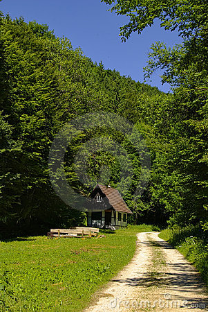 Hiking Trail with Hunting Lodge