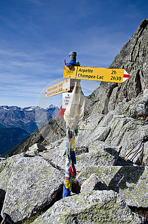 Hiking trail signs in the Tour de Mont Blanc Editorial Stock Photo