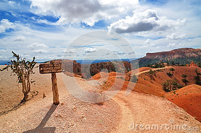 Hiking trails in Bryce Canyon National Park with signpost