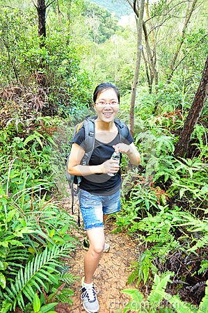 hiking woman drink water