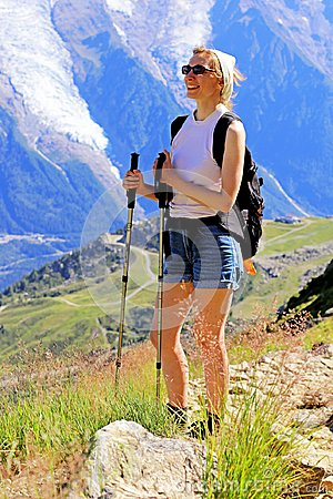 Free Hiking Woman Enjoying Mont Blanc Massif Near Chamonix, France Stock Photos - 108194983