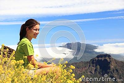 Hiking woman enjoying view