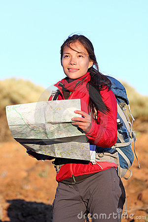 Free Hiking Woman In Nature Holding Map Stock Photos - 20892923