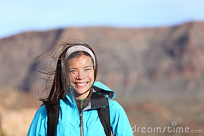 Hiking woman smiling happy