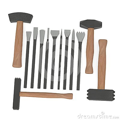 Hilfsmittel für Steinmetzarbeit mit 4 Hämmern