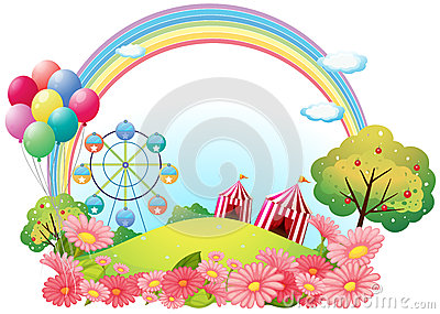 A hill with circus tents, balloons and a ferris wheel