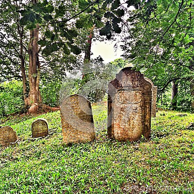 On a hill in Czech Republic a jewish cemetery