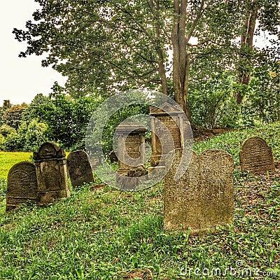 On a hill in Czech Republic a jewish cemetery
