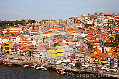 Hill with old town of Porto and river Douro, Portugal Editorial Image