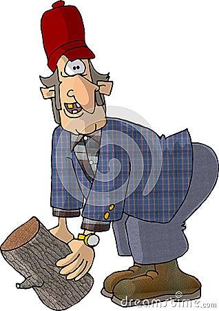 Hillbilly and a log Cartoon Illustration