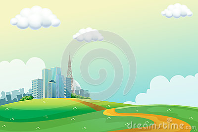 Hills across the tall buildings
