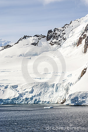 Hills covered with snow in Antarctica