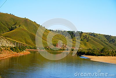 Hills and  river in Eastern Siberia
