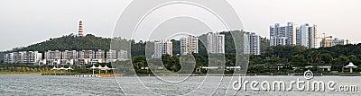 Hillside buildings along shore