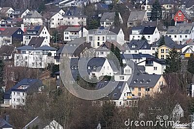 Hillside houses in German town