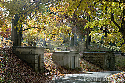 Hillside Mausoleums in Fall