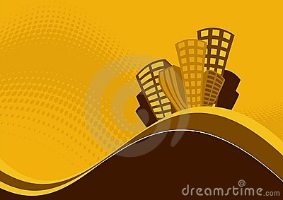 Hilltop buildings graphic