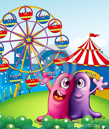 A hilltop with a carnival and monsters