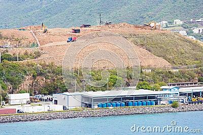Hilltop Construction Over Industrial Port