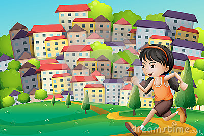 A hilltop with a girl running across the buildings