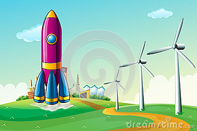 A hilltop with a rocket near the windmills