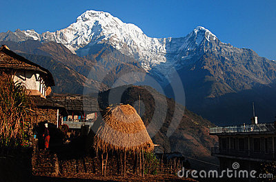 Himalaya village under  Mt. annapurna