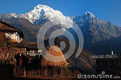 Himalaya village under  Mt. annapurna