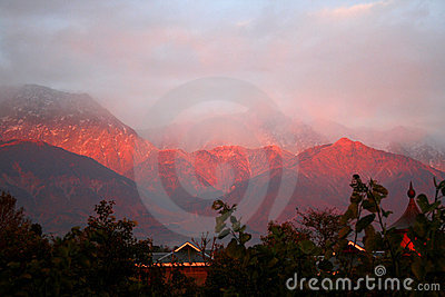 Himalayan sunset from dharamsala india