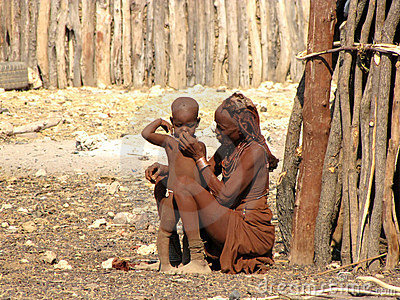 Himba woman with a small boy Editorial Photo