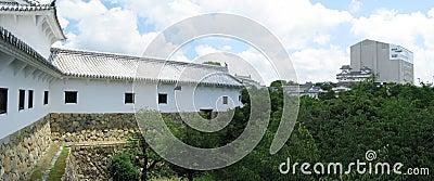 Himeji castle defense walls+castle in background