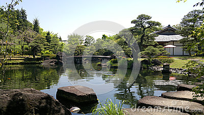 Himeji Garden with pond and stepping stones in Japan