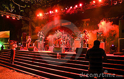 Hindi Rock group-Ashwamedh performing on stage. Editorial Photo