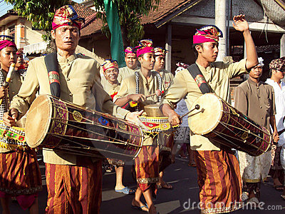Hindu ceremony on the streets of Ubud Editorial Photo