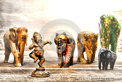 Hindu Deity Ganesh Figurine in Dream of Elephants