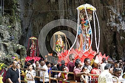 Hindu Devotees at Thaipusam Celebration Editorial Image