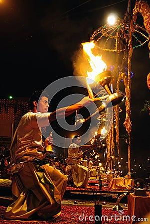 Hindu fire ritual Editorial Stock Photo