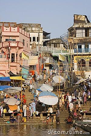 Hindu Ghats - River Ganges - Varanasi Editorial Photo