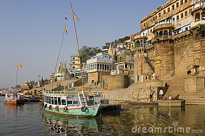 Hindu Ghats - River Ganges - Varanasi Editorial Stock Image