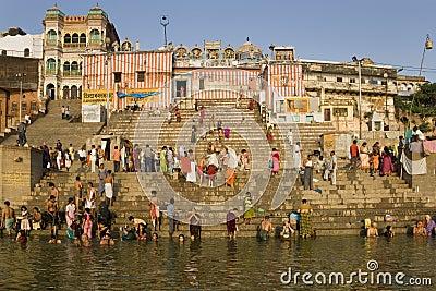 Hindu Ghats - River Ganges - Varanasi Editorial Image