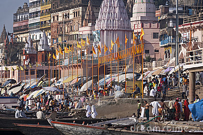 Hindu Ghats on the River Ganges - Varanasi - India Editorial Photography