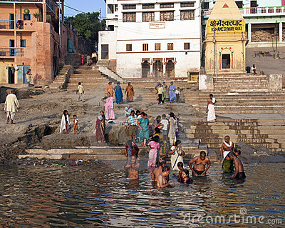 Hindu Ghats on the River Ganges - Varanasi - India Editorial Stock Photo