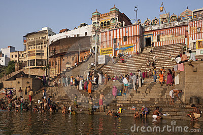 Hindu Ghats on the River Ganges - Varanasi - India Editorial Photo