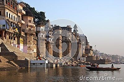 Hindu Ghats on the River Ganges - Varanasi - India Editorial Stock Image