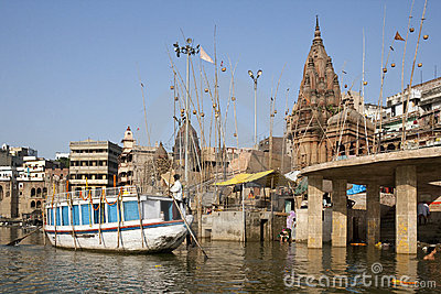 Hindu Ghats on the River Ganges - Varanasi - India Editorial Image