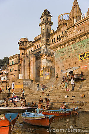 Hindu Ghats - River Ganges - Varanasi - India Editorial Image